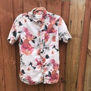 Printed Floral Men's Short Sleeve Button Down